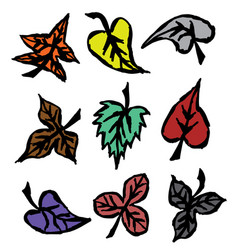 grunge autumn leaves hand drawn vector image vector image