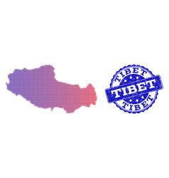 Halftone gradient map of tibet and textured stamp vector