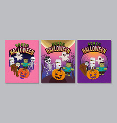 halloween cover banner ghost scary spooky vector image