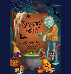 Halloween zombie monster bat spider pumpkins vector