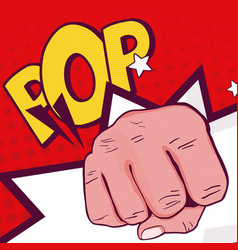 hand clenched pop art vector image