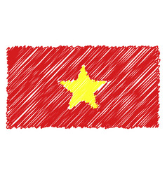 hand drawn national flag of vietnam isolated on a vector image