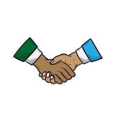 handshake hand drawn sketch design vector image