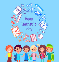 Happy teacher s day poster vector
