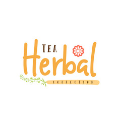 herbal tea collection badge design sticker vector image