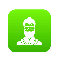hipsster man icon digital green vector image