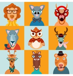 Hipster animals icons flat vector image