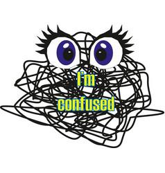 i am confused print logo charackter line art vector image