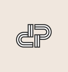 initial dp pd monogram logo template vector image