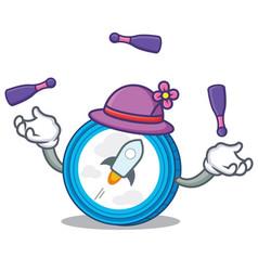 Juggling stellar coin character cartoon vector