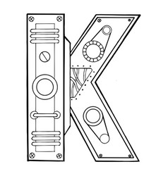 Mechanical letter k engraving vector
