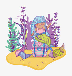 Mermaid woman with branches leaves and shells vector