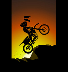 motorcyclist off road trial trick mountain emblem vector image