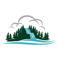 Mountain waterfall logo design template vector