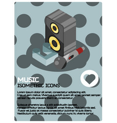 music color isometric poster vector image