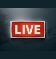 on air glowing sign live tv or radio light vector image