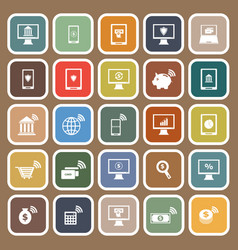 online banking flat icons on brown background vector image
