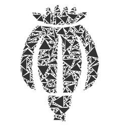Opium poppy mosaic of triangles vector