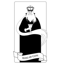 outlines king of cups with crown roses and thorns vector image