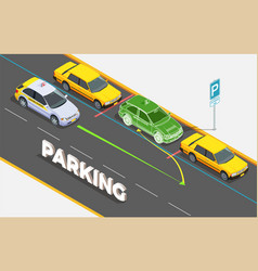 Parking isometric background concept vector