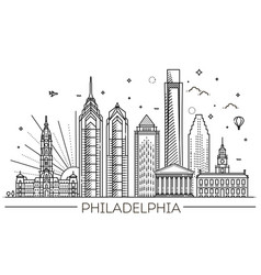 philadelphia pennsylvania usa skyline vector image