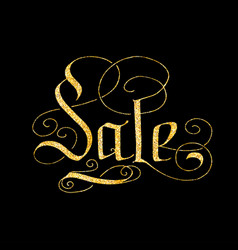 Sale of glitter golden hand lettering vector