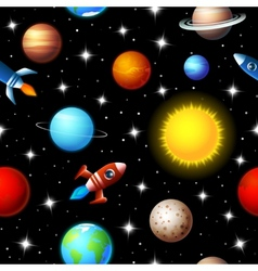 Seamless kids design of rockets and planets vector image