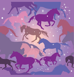 Seamless pattern with horses on purple background vector