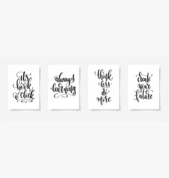 set four black and white hand lettering concept vector image