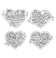 Set four hand-drawn doodles hearts vector