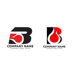 Set initial letter b fire logo design vector