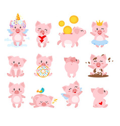 Set of cute pink pig vector