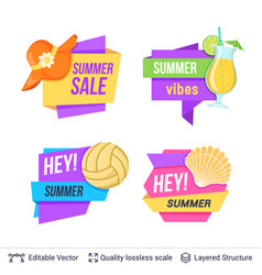 Set of summer badges isolated on white vector