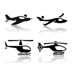 set transport icons - airplane and helicopter vector image