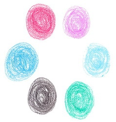 set wax crayon circle spots isolated on white vector image