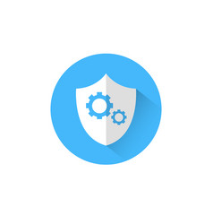 shield with cog wheel icon blue round on white vector image