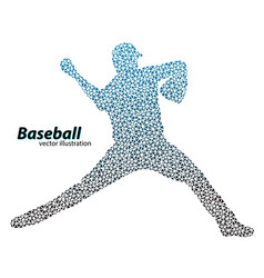 silhouette of a baseball player from triangle vector image