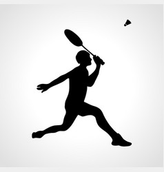 Silhouette professional badminton player vector