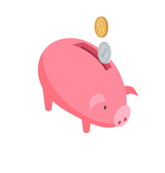 silver and gold coins falling into pink piggy bank vector image