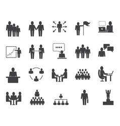 simple set of business people related icons vector image