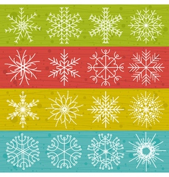 Snowflakes on color background vector