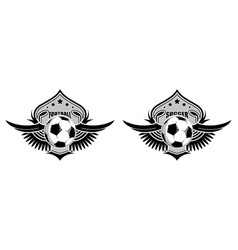 Soccer ball on background stylized shield with vector