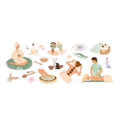 spa center service flat set vector image