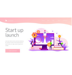Start up landing page template vector