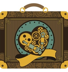 Steampunk mechanical heart vector image