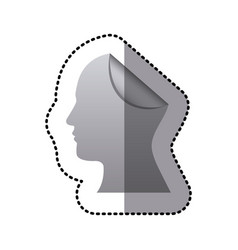 sticker silhouette silver head human with fold vector image