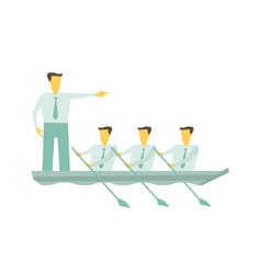 team boat together business teamwork leadership vector image