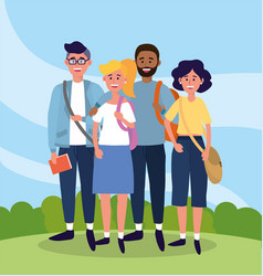 University people with casual clothes and bags vector