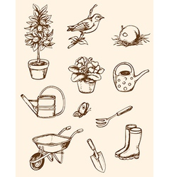vintage hand drawn garden tools vector image
