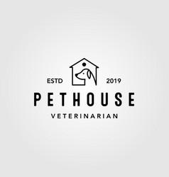 Vintage line art pet house home logo icon design vector